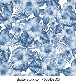 Tropical seamless pattern of hibiscus flowers and palm leaves colored blue. Watercolor botanical illustration.
