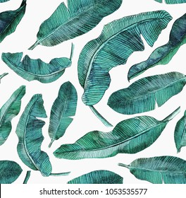 Tropical seamless pattern  with tropical leaves and flowers. watercolor background with banana leaves