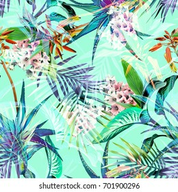 Tropical seamless pattern. Watercolor background.
