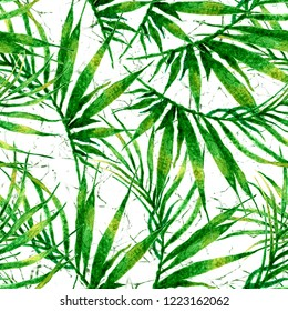 Tropical seamless pattern. Watercolor chaotic palm leaves, japanese bamboo. Green exotic swimwear design. Summer tropic repeated print. Stylish textile illustration.