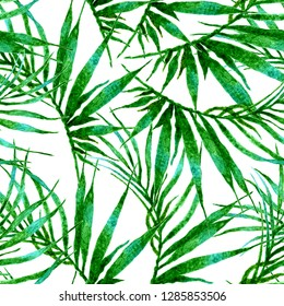 Tropical seamless pattern. Watercolor chaotic palm leaves, japanese bamboo. Green exotic swimwear design. Summer tropic repeated print. Uncommon textile illustration.