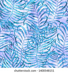 Tropical seamless pattern. Watercolor tangled palm leaves, japanese bamboo. Blue exotic swimwear design. Summer tropic repeated print. Dazzling textile illustration.