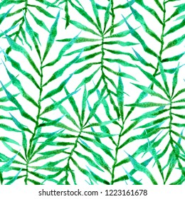 Tropical seamless pattern. Watercolor thorny palm leaves, japanese bamboo. Green exotic swimwear design. Summer tropic repeated print. Favorable textile illustration.