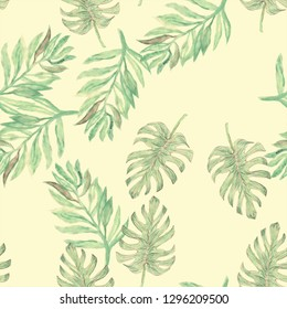 Tropical seamless watercolour monstera pattern Hand painted watercolor illustration monster. Tropical seamless botanical watercolor exotic floral pattern. Tropical palm leaves. Spring rainforest leaf