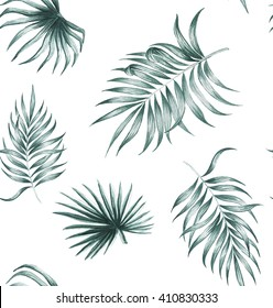 tropical Silk palm plant tropical exotic leaves watercolor pattern seamless spring summer hawaii , design print textile backdrop,wallpaper isolated on white background