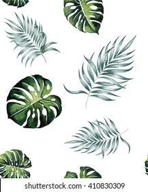 tropical Split  leaves and Silk palm plant tropical exotic leaves watercolor pattern seamless spring summer hawaii , design print ,textile backdrop,wallpaper isolated on white background