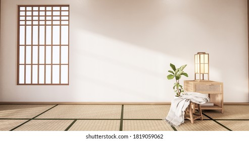 The Tropical style Chaina room interior design with tatami mat floor and white wall.3D rendering