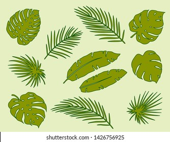 tropical summer hand drawn green palm leaves and branches silhouettes set