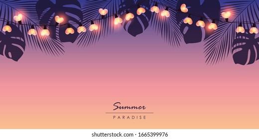 tropical summer paradise background with fairy light and palm leaves illustration