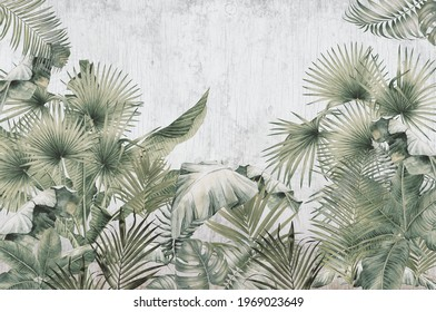 tropical trees and leaves wallpaper design in foggy forest - 3D illustration