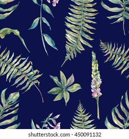 Tropical watercolor leaf seamless pattern with ferns and flowers lupine, botanical natural watercolor illustration on navy blue background