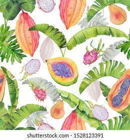 Tropical watercolor pattern with papaya, dragonfruits, cocoa and pears. Perfect for fabric, cards and package design.