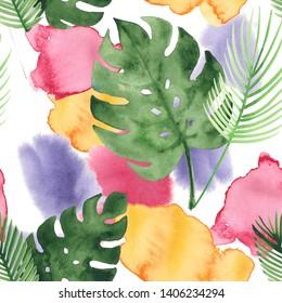 Tropical Watercolor Seamless Pattern, Botanical Fashion Design. Bohemian Fashion Exotic Textile Design. Winter or Summer Vintage Fashion Prints, Eclectic Grunge Floral Pattern. Sketch Jungle Leaf