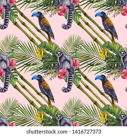 Tropical wildlife seamless pattern. Hand Drawn jungle nature, lemur, hibiscus flowers illustration