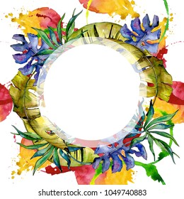 Tropics leaves wreath in a watercolor style. Aquarelle leaf for background, texture, wrapper pattern, frame or border.
