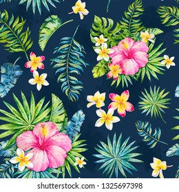 Tropics. Watercolor botanical illustration. Watercolor tropics seamless pattern. Paradise