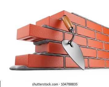 Trowel and bricks wall 3D. Work place. Isolated on white background