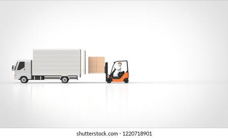 truck back side and forklift side left 3d rendering