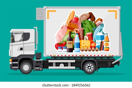 Truck car full of food products. Shop and farm delivering service. Delivery and selling grocery products concept. Meat, milk, bread, vegetables. Cargo and logistic. Cartoon flat illustration