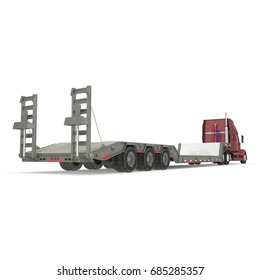 Truck with Double Drop Trailer on white. 3D illustration, clipping path