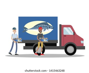 Truck with fresh fish delivery. People carry box with fish to the vehicle. Seafood business. Isolated  flat illustration