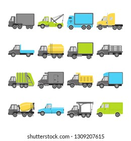 Truck icons collection in flat style. Trucking industry symbols set isolated on white. Different types of cargo transportation vehicles.