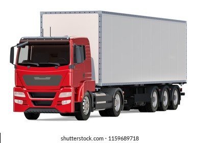 Truck with isothermal van, side view. 3D rendering isolated on white background