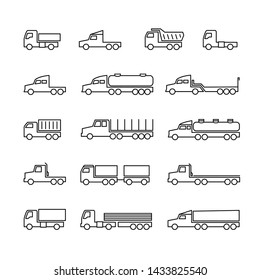 Truck line icons. Delivery trailers, cargo trukcs, dumpers and van. Transportation outline isolated symbols. Vehicle van, dumper lorry for cargo freight illustration