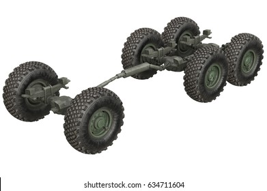 Truck military chassis frame with wheels. 3D rendering