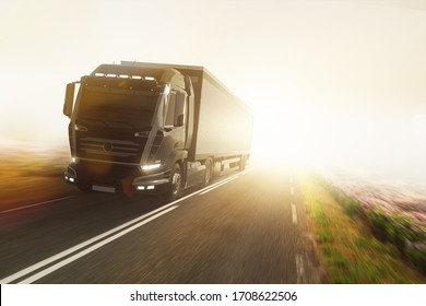 Truck on foggy country road (3D Rendering)