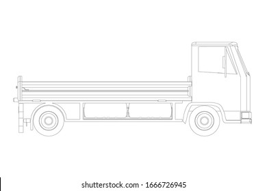 Truck outline isolated on a white background. Side view.
