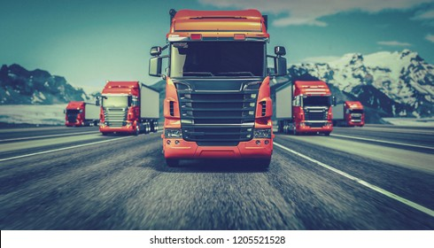 The truck running on the road speed. . 3d rendering and illustration.