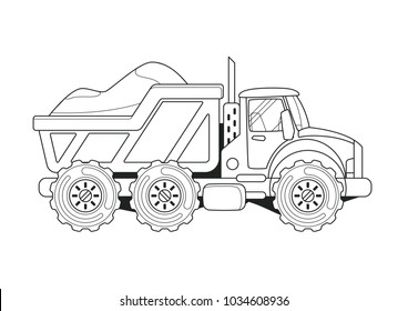 Truck with Sand Side View Coloring Book. Line Art.