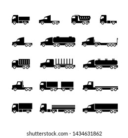Truck silhouette icons. Shipping, cargo trukcs, dumpers and van. Transportation symbols. Transport trailer, van lorry, vehicle truck illustration