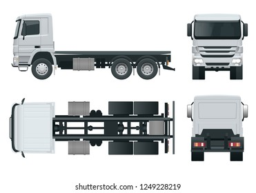 Truck tractor or semi-trailer truck Combination of a tractor unit and one or more semi-trailers to carry freight. Side, front, back, top view. Side, front, back, top view