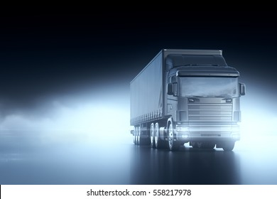 Truck with a trailer on abstract elegant dark background. Logistic transportation Import Export business concept. 3D render.