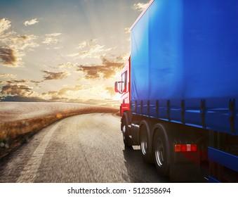 Truck transport. 3D Rendering