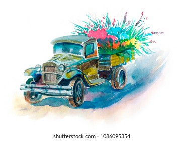 Truck with watercolor flowers. Car with flowers. Victory Day