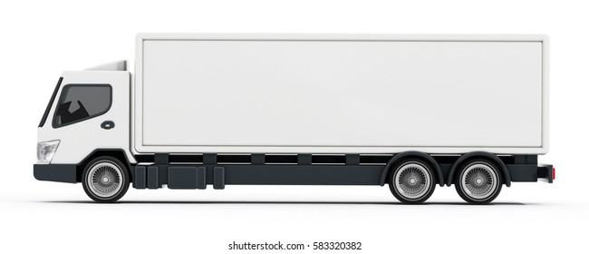 Truck with white blank trailer. 3D illustration.