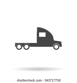 Truck without a trailer. Flat icon on grey background with shadow