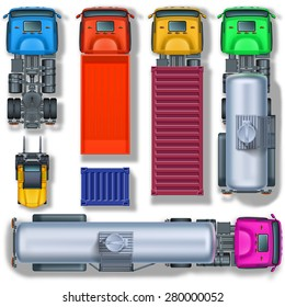 Trucks collection and wheeled forklift with container, top view.