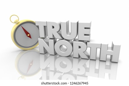 True North Compass Direction Words 3d Illustration