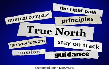 True North Guiding Principles Compass News Headlines 3d Illustration