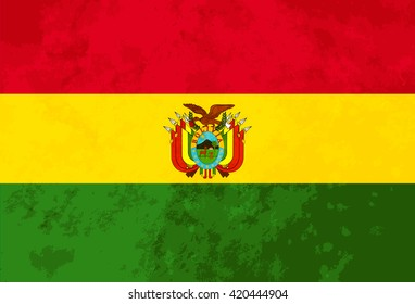 True proportions Bolivia flag with grunge texture