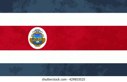 True proportions Costa Rica flag with grunge texture