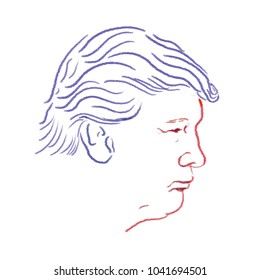 Trump line art in blue and red