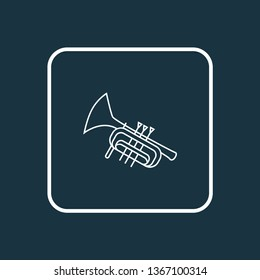 Trumpet icon line symbol. Premium quality isolated bugle element in trendy style.
