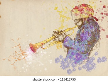 """Trumpeter. Full-sized (original) hand drawing (useful for converting """"live trace"""" for the vector image - and others). Technique: digital tablet. Number of colors: hundreds"""