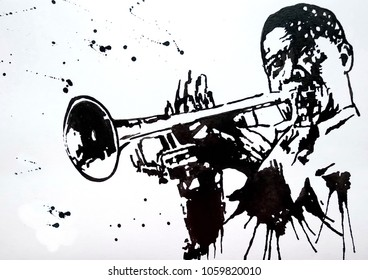 Trumpeter. Jazz band. Jazz Swing Orchestra. Silhouettes. Orchestra. International Jazz Day It is celebrated annually on April 30. Drawing, black mascara on paper. Naive Art. Abstract art.