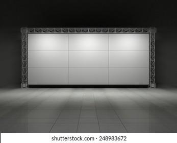 Truss stage on concrete floor. 3D rendering